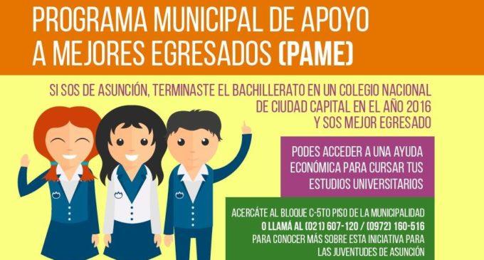 Comuna de Asunción lanza Programa Municipal de Apoyo a Mejores Egresados