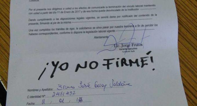 Funcionario de Tesãi despedido por negarse a firmar planilla pro reelección