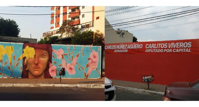 """Carlitos Viveros dice que no viola Código Electoral """"porque el mural está en propiedad privada"""""""