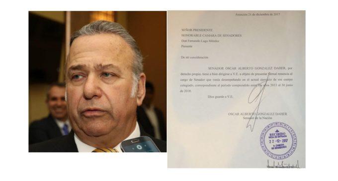 Renunció el senador Óscar González Daher