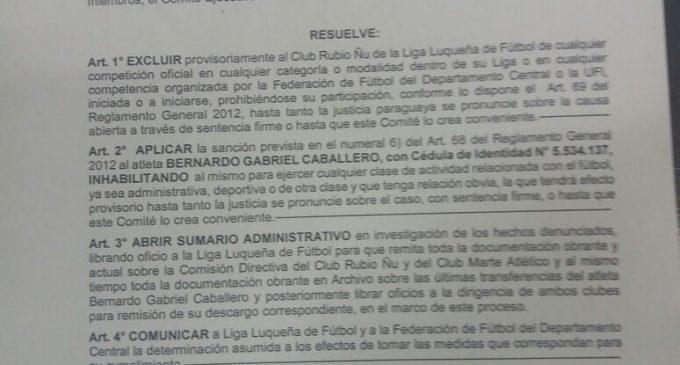 UFI excluye a Rubio Ñu de la Liga Luqueña y suspende a Gabriel Caballero