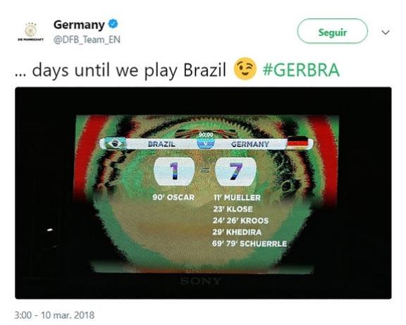 Humillante  La burla de la Selección de Alemania a Brasil en redes ... d4e796ad3c9