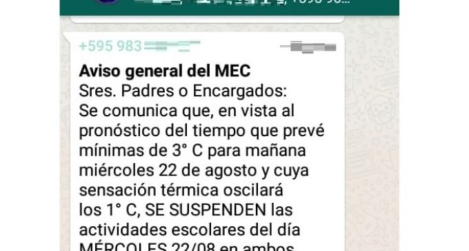 MEC advierte sobre comunicado falso de supuesta suspensión de clases