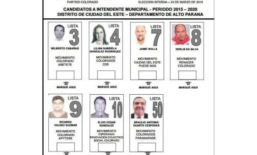Los números antes de las elecciones coloradas en Ciudad del Este