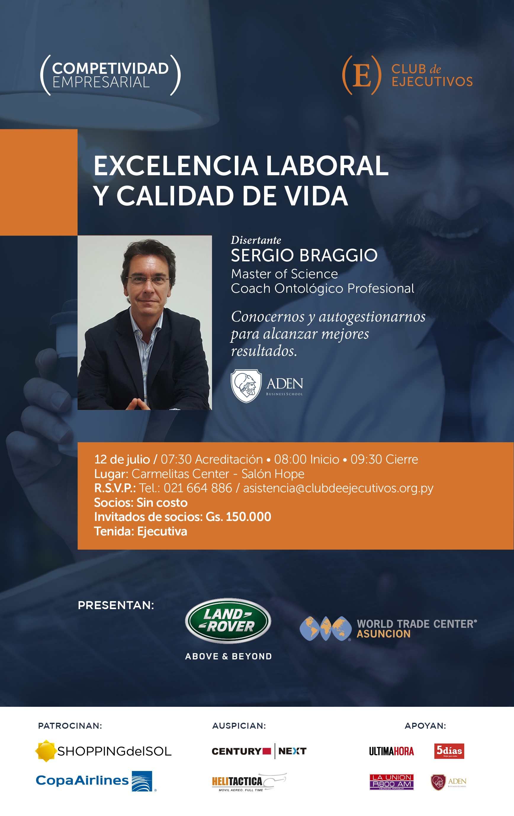 """Club de ejecutivos invita a conferencia de """"Excelencia laboral y calidad de vida"""""""