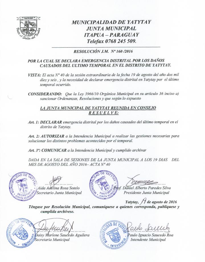 Resolución municipal - Gentileza