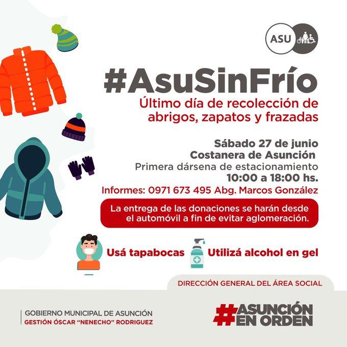 Municipalidad de Asunción realiza campaña de recolección de abrigos para familias vulnerables
