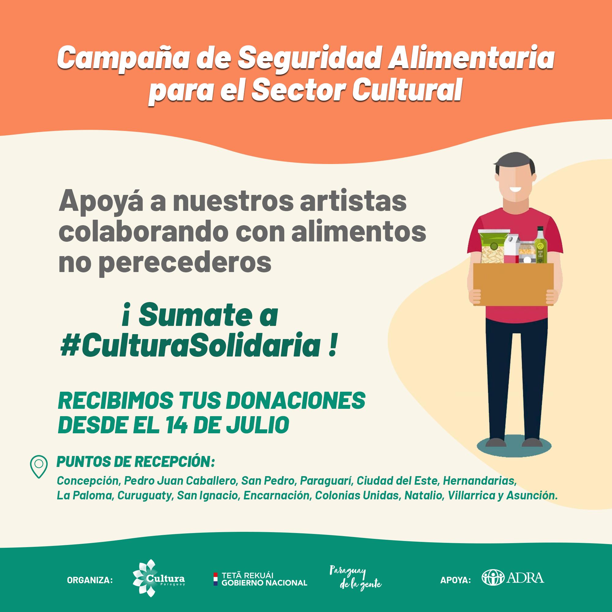 Secretaría Nacional de Cultura impulsa Campaña de Seguridad Alimentaria para el Sector Cultural