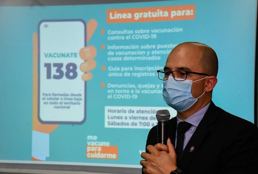 Salud habilita el 138, línea gratuita para consultas sobre vacunación anticovid
