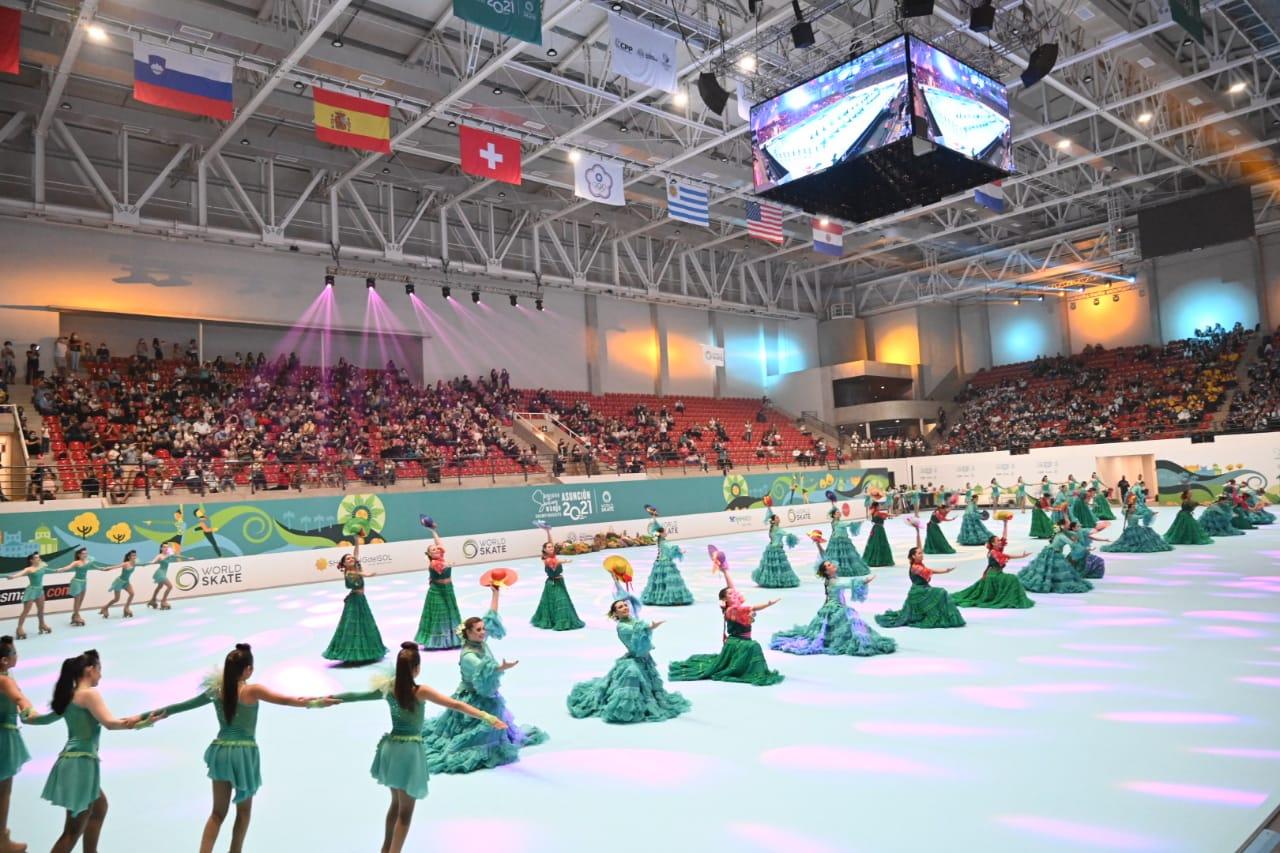 Fiesta total en la inauguración del Mundial de Patinaje Artístico Asunción 2021